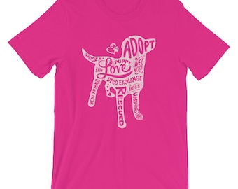 Light Pink on Berry - Dog Silhouette - Short Sleeve - DecoExchange