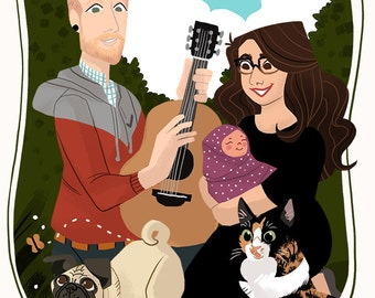 Custom Family Friends Couple Portrait: Simple, Unique, VALENTINES, Digital File, Birthday Gift, Pets, Children