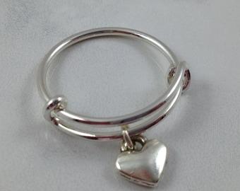 Heart Ring, Expandable Ring, Bangle Style Ring, Mini Bangle Ring