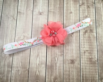 Coral Antler Floral Headband -  Rhinestone Pearl - Flower Girl - Headband - Newborn Infant Baby Toddler Girls Adult