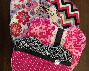 Baby Girl Bib and Burp Cloth Set - Pink, Black, and White