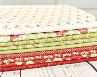 Hazel & Plum Red/Green One Yard Bundle - Moda Fabric - Fig Tree Quilts - Hazel and Plum Fabric - Moda Bundle - 9 pieces