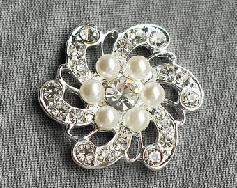 3 Rhinestone Button Embellishment FREE Shipping of 20.00 Order Pearl Crystal Wedding Brooch Bouquet Invitation Cake Decor BT011