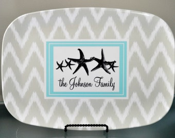Personalized Platter - Star Fish Family,  Customized Melamine Platter
