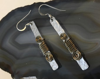 Bronze Spiral Hammered Aluminum Earrings