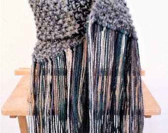 Knit Scarf with Fringe - Purple/Teal/Grey Ombre - Extra long