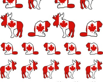 I AM Canadian!  Moose / Beaver Nail Decals -Canada Day-Celebration-Party-Free Samples w/Every Order! Canada Flag-maple leaf-red