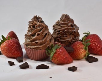 Chocolate Frosted Strawberry Cupcake Soap, Whimsical Homemade, Organic Cold Process Soap