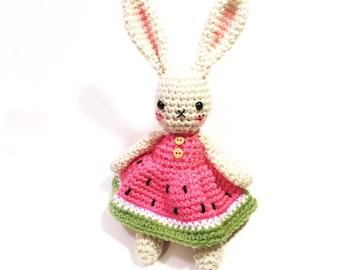Rabbit Doll Plush - Watermelon Dress - Watermelon Sundress - Rabbit Amigurumi - Watermelon Amigurumi - Rabbit Nursery Decor - MADE TO ORDER