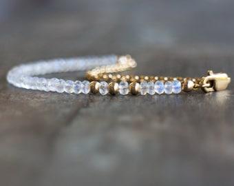 Moonstone Bracelet, Gemstone Bracelet, Rainbow Moonstone Jewelry, June Birthday Gift for Her, June Birthstone Jewelry, Dainty Bracelet