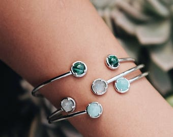 Double Gemstone cuff | Sterling silver bangle,gemstone bangle,two stone bracelet,adjustable cuff bracelet,malachite bracelet,silver bracelet
