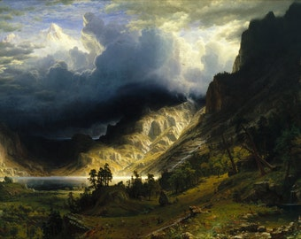 Storm in the Rocky Mountains by Albert Bierstadt Home Decor Wall Decor Giclee Art Print Poster A4 A3 A2 Large Print FLAT RATE SHIPPING