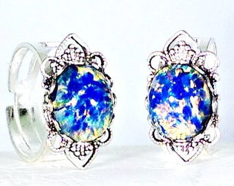Blue Dragons Breath Opal Ring | Blue Opal Ring | Teen Jewelry | Filigree Ring | Filigree Jewelry | SP Opal Ring | Statement Ring