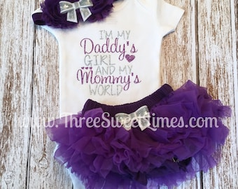 Baby Girl Clothes | I'm My Daddy's Girl And My Mommy's World Bodysuit | Opt Leg Warmers Headband Tutu Bloomer Purple And Silver Glitter |