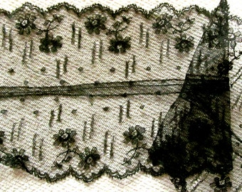 """Antique Black Chantilly Lace with Double Edge and Shirred/Gathered Center; Very Delicate 17"""" in Length, 3-3/4"""" Width"""