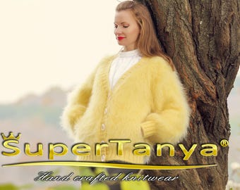Yellow V neck mohair cardigan, super fuzzy sweater jacket by SuperTanya