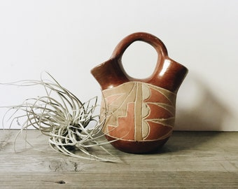 Vintage southwestern pottery vase | clay wedding vase