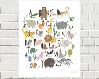 alphabet poster/alphabet painting/alphabet illustration/kids alphabet print/child alphabet/baby alphabet/animal alphabet print/nursery wall