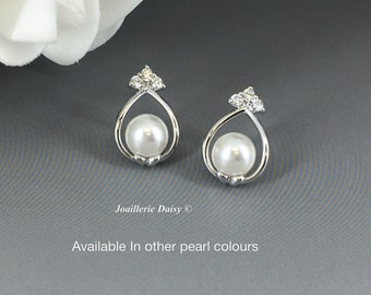 Bridesmaid Gift Swarovski Pearl Earrings Pearl Earrings Cubic Zirconia Jewelry Maid of Honor Gift Mother of the Bride Mother of Groom Gift