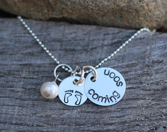 Coming Soon - Expectant Mom Stamped Sterling Necklace