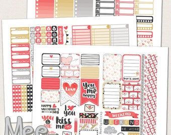 Valentines day planner stickers for Mambi Happy planner,PRINTABLE planner stickers,February sticker kit,weekly planner sticker set,red heart
