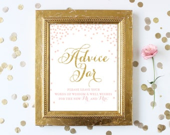 Pink and Gold Advice Jar Bridal Shower Sign 8x10 . Advice for the Bride .  Pink and Gold Glitter . Printable Digital Instant Download
