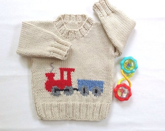 Baby sweater with train motif - 6 to 12 months - Hand knit baby clothes - Baby shower gift - Baby boy train sweater