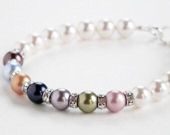 Mothers Pearl Bracelet - Family Birthstone Bracelet - Swarovski Bracelet - Mothers Jewelry - Plus Size Available - Gift Idea - Mothers Day