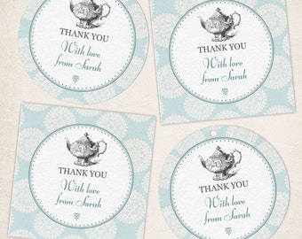 Printable Blue Rosette Victorian High Tea Party Images, Editable PDF Instant Download seals, stickers, tags, buttons, cupcake toppers