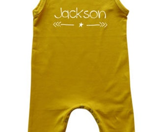 Personalized Sleeveless Baby Romper for Boys
