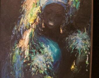 1960's Ophelia Voodoo Priestess Oil on Board