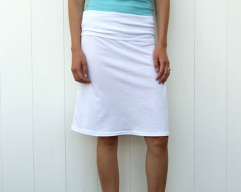 Short Women's Skirt with Yoga Style Waist Band // a line skirt // cotton jersey knit // midi skirt