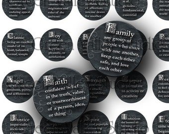 Original Digital Art Images Sheet - Dictionary Words - Meanings - Love - Hope - Spirit - Inspirational Words - One Inch Circles for Pendants - Magnets - Scrapbook (C27)