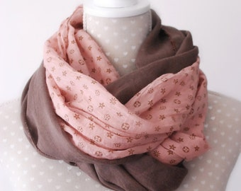 Taupe and Peachy Pink Chiffon Loop scarf Circle Scarf Fashion accessory Vintage Look