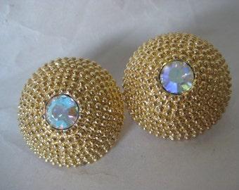 Aurora Texture Earrings Clip Gold Rhinestone Vintage