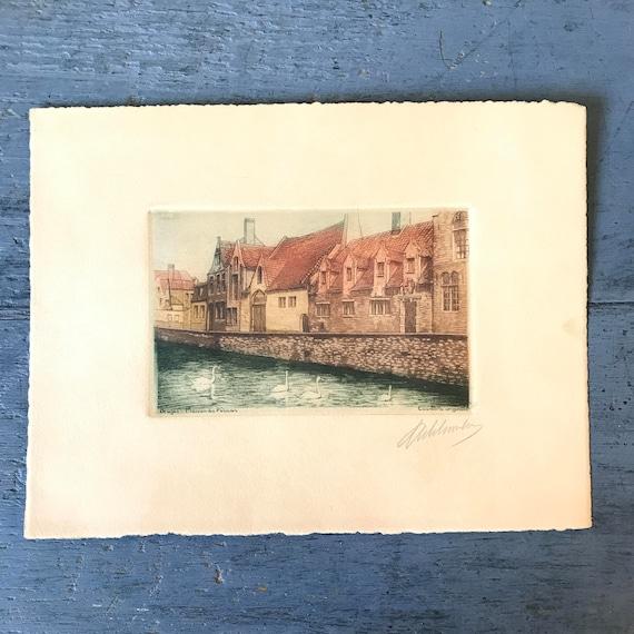 antique watercolor etching - hand pulled print - Bruges Maison du Pelican