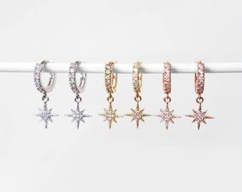 North Star CZ Hoop Earrings   dainty north star earrings, small ear cuff, shiny star galaxy earrings, huggie cuff earrings, snug ear jacket