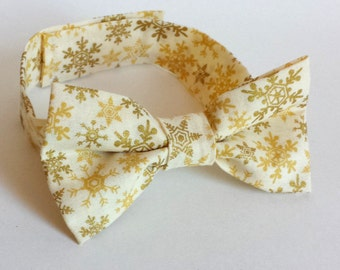 Little Boys Christmas Bow Tie - Gold Snowflakes on Cream - Metallic Gold Bow Tie - Adjustable Bow Tie - Size Infant, Toddler or Youth
