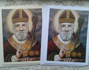 St. Nicholas, Father Christmas, Bishop Stationary Cards on White & Ivory Card Stock, Image from my Signed, Original Acrylic Painting, Art