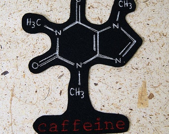Caffeine Molecule Iron On Embroidery Patch MTCoffinz - Choose Size