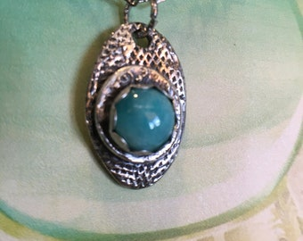 Silver amazonite pendant