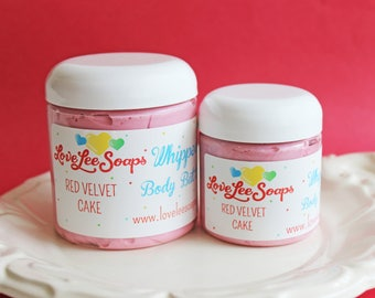 Whipped Body Butter Red Velvet Cake - Body Frosting, Cupcake, Lotion, Whipped Lotion, Moisturizing, Bridal Shower, Party Favor, Gift For Her