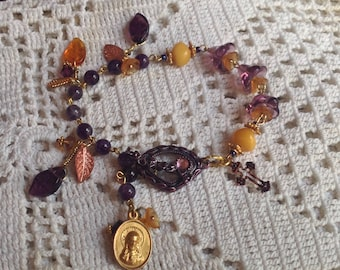 HEY MARY Peace Beads  Limited  edition by TR Jackson 10 k gf medal deluxe Amber Amethyst Czech crystal gem rosary  bracelet & keepsake box