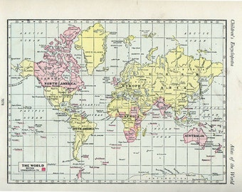 1950s Antique WORLD Map of the World, British Commonwealth 1900s atlas regions Map