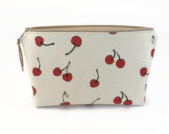 Makeup zipper bag, Cherries, Makeup bag, Bridesmaid gift, Makeup pouch, Makeup zipper pouch, Makeup storage case, Cosmetic case, Make up bag