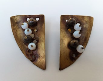 Big Bold Modern Tribal Shield Post Earrings of Large Burnished Gold Brass White Opal Glass Art Artisan Handcrafted Jewelry Jewellery