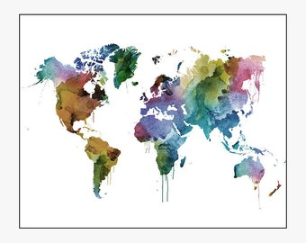 world map poster, large world map, world map art, travel map, world map wall art, home decor, gift, travel, wall decor, iPrintPoste