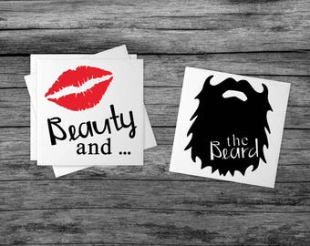 Beauty and the Beard | Wedding Gift | Sandstone Coasters | Couples Gift | Anniversary Gift | Funny Couple Gift | Gift for Guy | The Beard  |