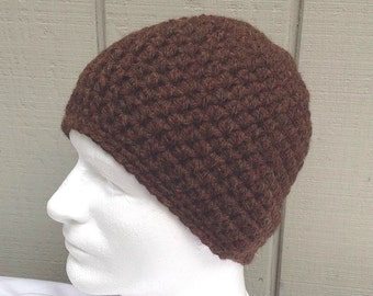 Mens wool mix beanie - Crochet beanie - Mens hat - Chunky brown wool beanie - Teens crochet hat