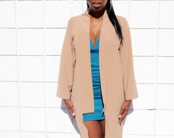 Women's open coat, Camel coat. Light Weight Coat